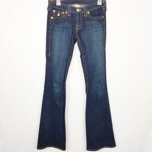 True Religion Wide Flare Leg Medium Dark Jeans